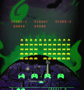 Con specchi e striscie colorate, ecco come appariva la grafica di space invaders.
